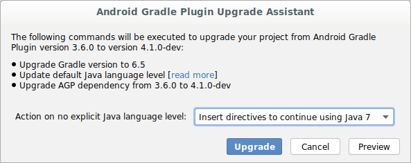 Android Gradle plugin Upgrade Assistant dialog