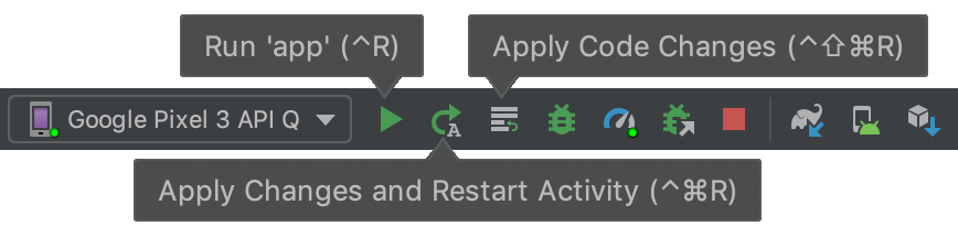 Apply Changes のツールバー ボタン