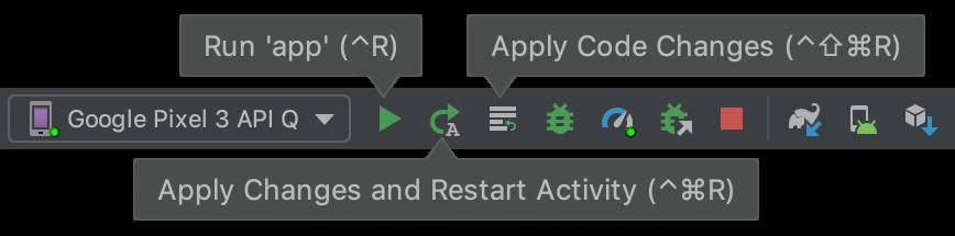 """Botões da barra de ferramentas para """"Apply Changes""""."""