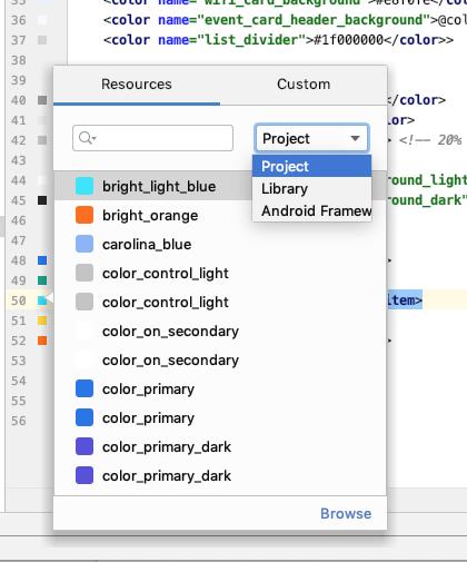 Selector de color con valores de color propagados