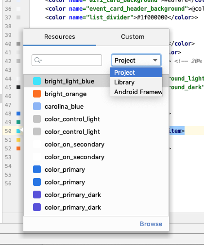 Color picker with populated color values