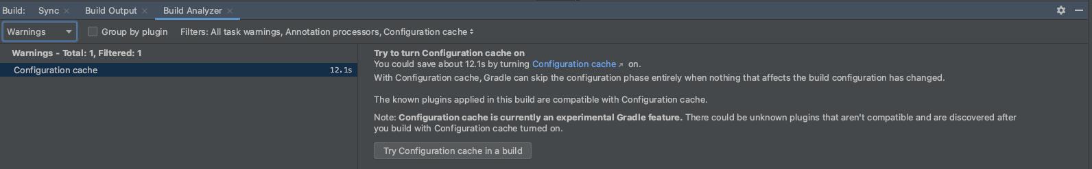 Configuration cache information in Build Analyzer