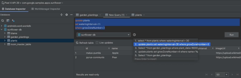 Run command in query editor