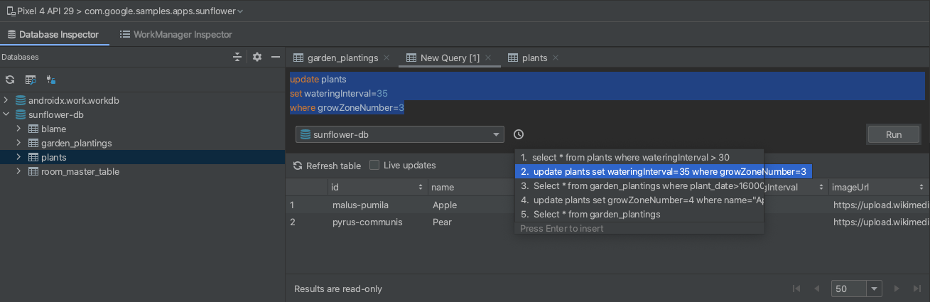 Run command in query editor