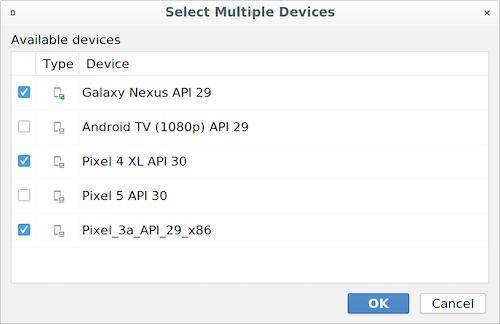 Modify device set dialog