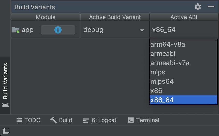 ABI에 의한 단일 변형 선택을 보여주는 Build Variants 패널