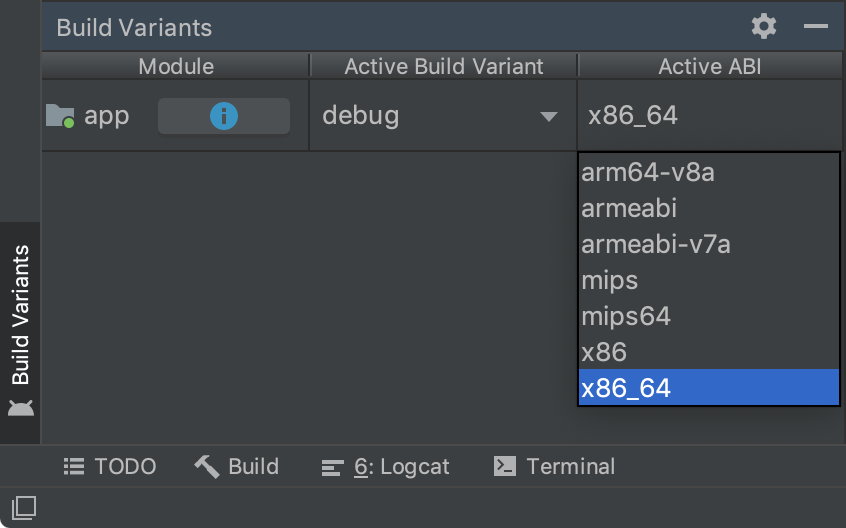 Build Variants panel showing single variant selection by ABI.