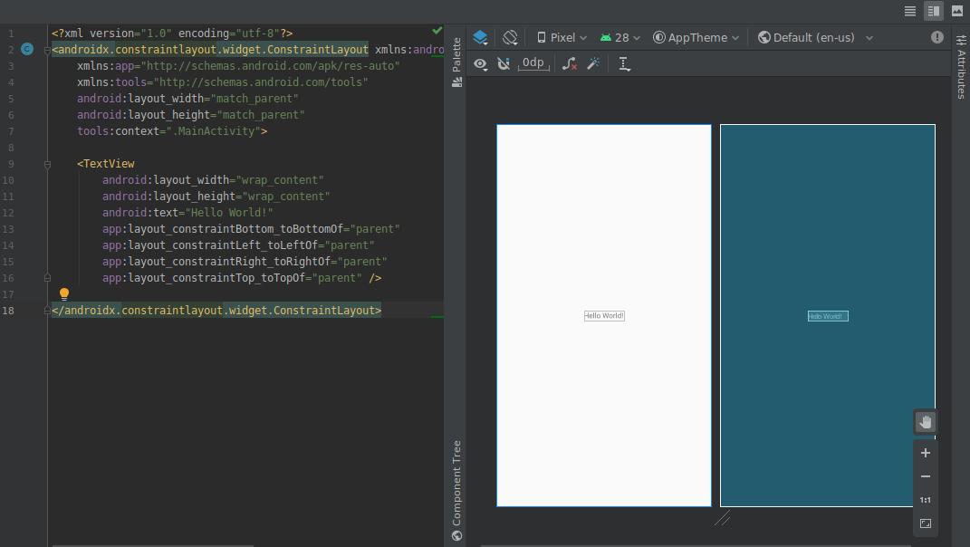 tampilan terpisah menampilkan desain dan tampilan teks pada waktu yang bersamaan