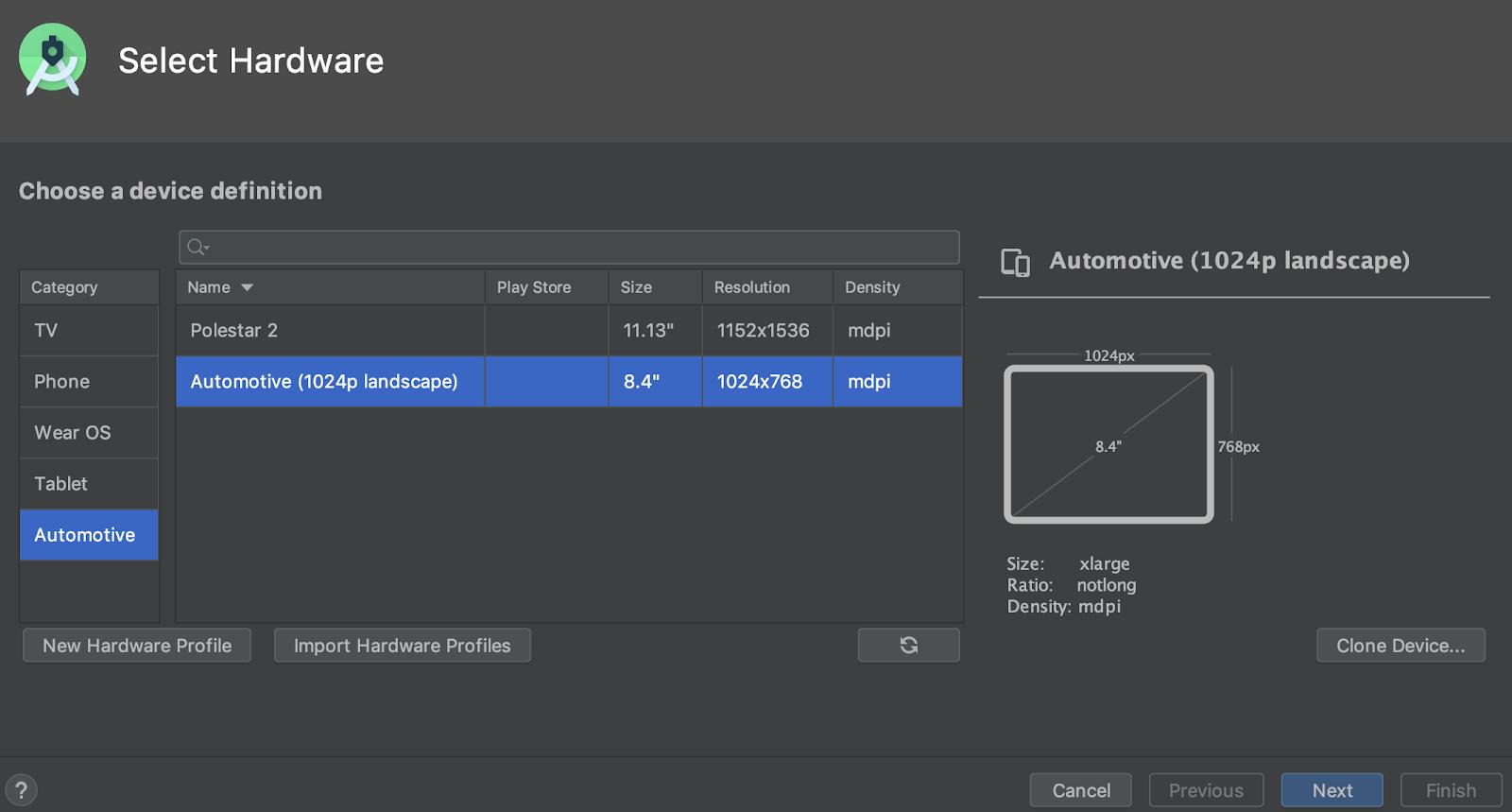 Seleção de um dispositivo virtual Android Automotive.