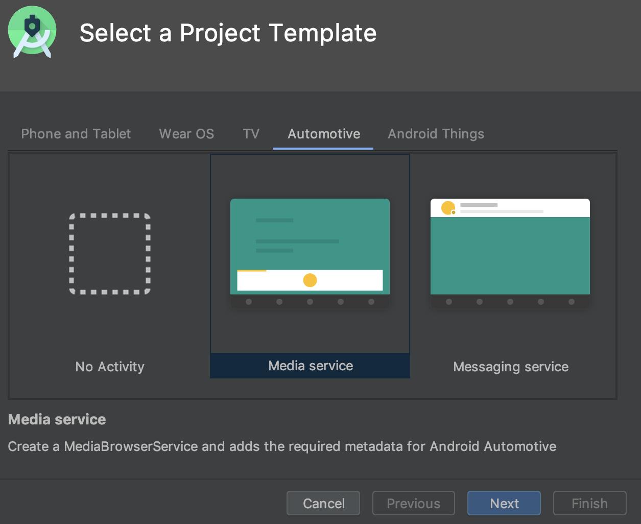 Seleção de um modelo de projeto do Android Automotive.