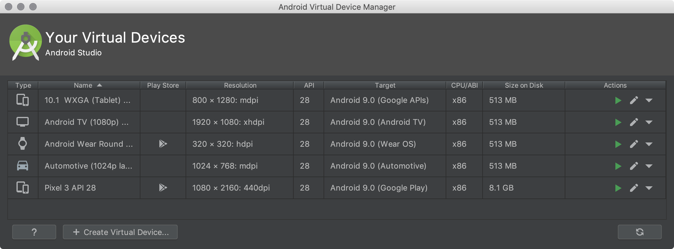 Criar e gerenciar dispositivos virtuais | Android Developers