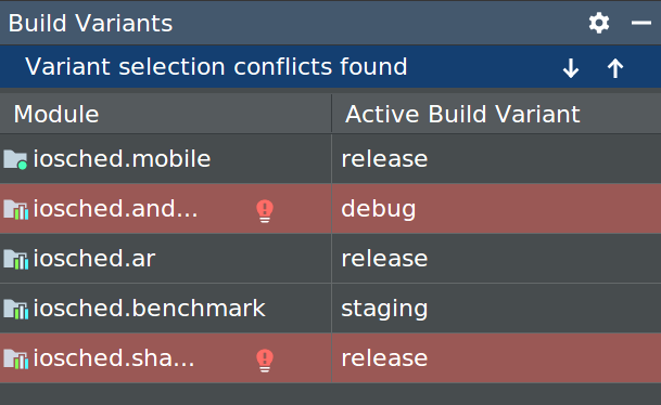 Ventana de variante de compilación que muestra errores de conflicto de variantes