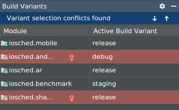 Jendela Varian Build yang menampilkan error konflik varian
