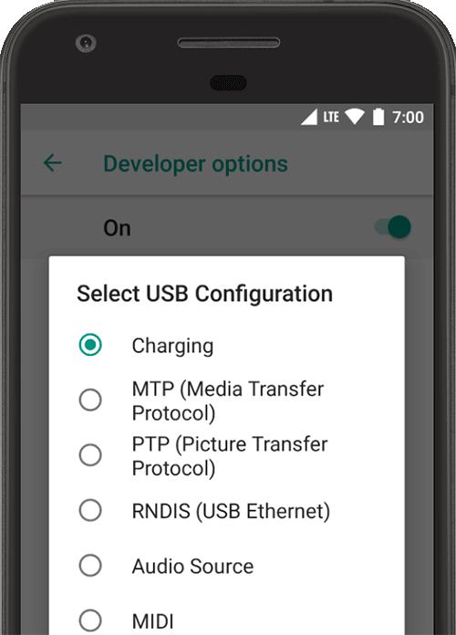 Configurar opções do desenvolvedor no dispositivo   Android