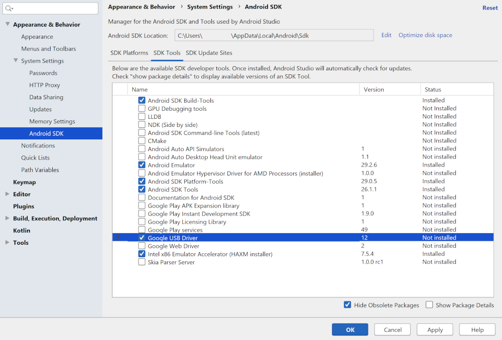 SDK Manager에서 Google USB 드라이버를 선택함