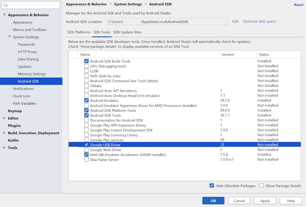O SDK Manager com o driver USB do Google selecionado