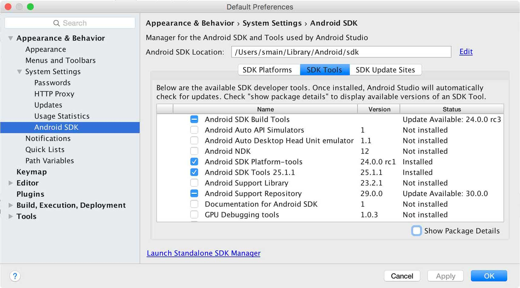 "I cannot found ""sdk tools"" in Android studio"