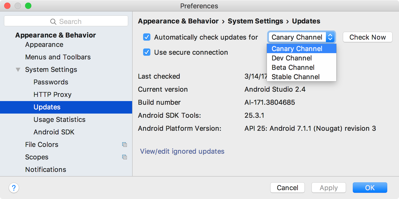 install a preview version of android studio android studio