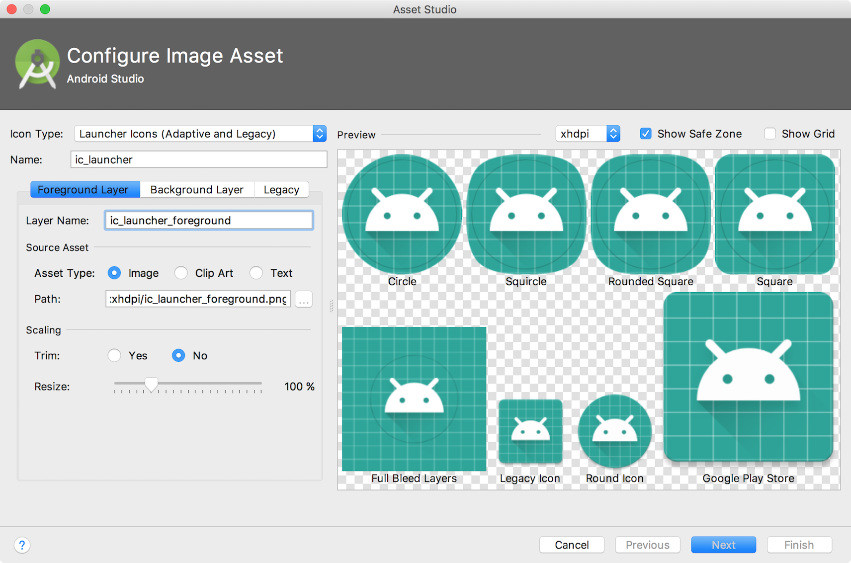 The adaptive and legacy icon wizard in Image Asset Studio.