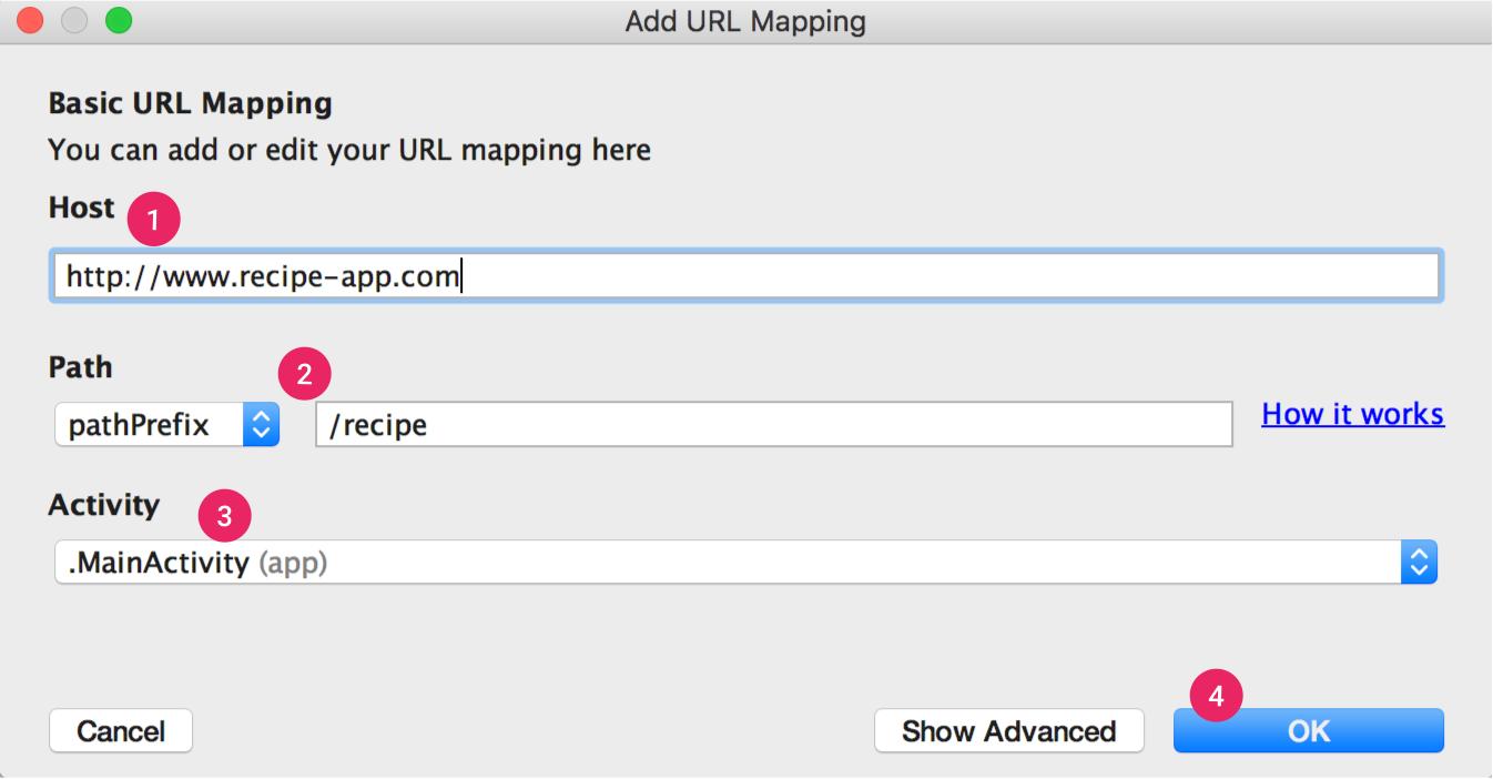アプリリンク アシスタントでは、基本的な URL マッピングの手順が示されます