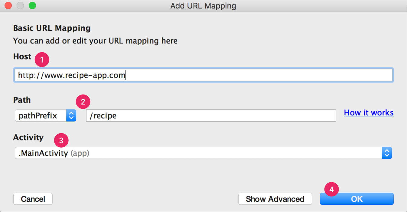 The App Links Assistant walks you through basic URL mapping
