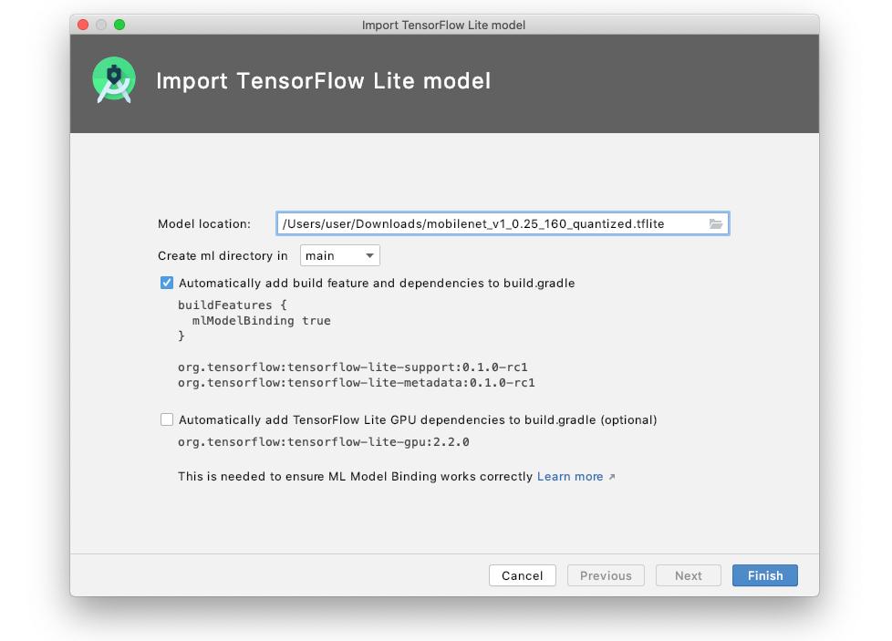 TensorFlow Lite 모델 가져오기
