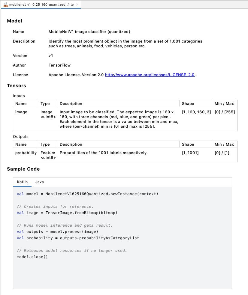TensorFlow Lite 模型查看器的屏幕截图