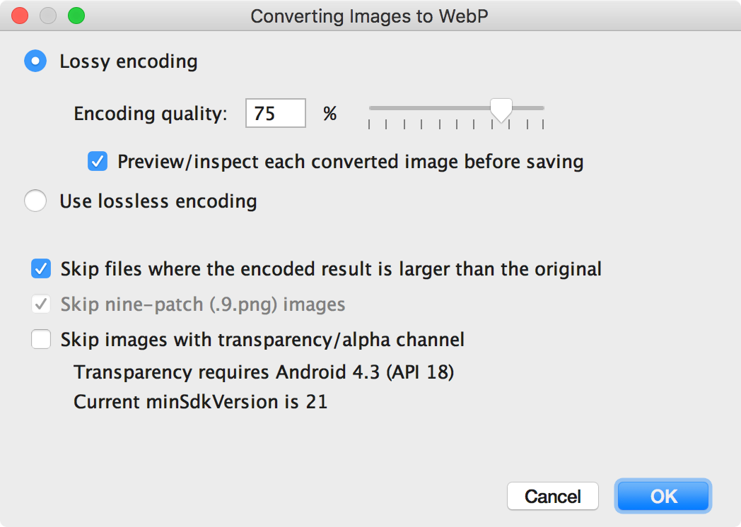 Create WebP images | Android Developers