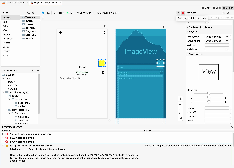 Scanner de acessibilidade no Android Studio