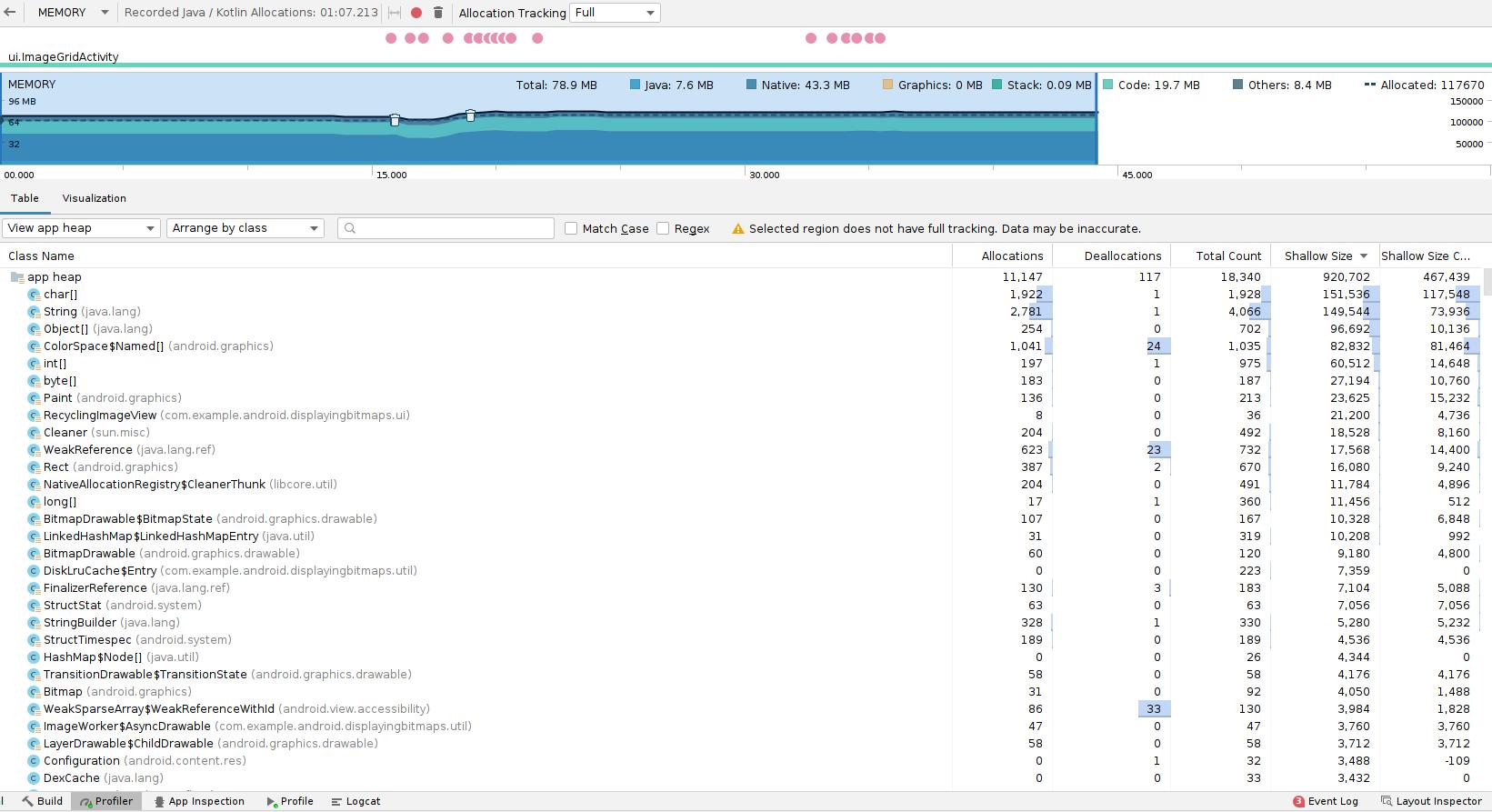 Alocações de memória exibidas no Memory Profiler