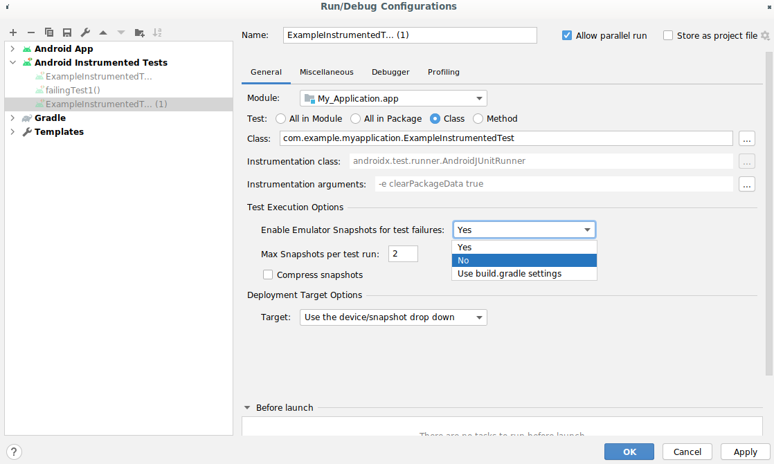 Enable Emulator Snapshots for test failures