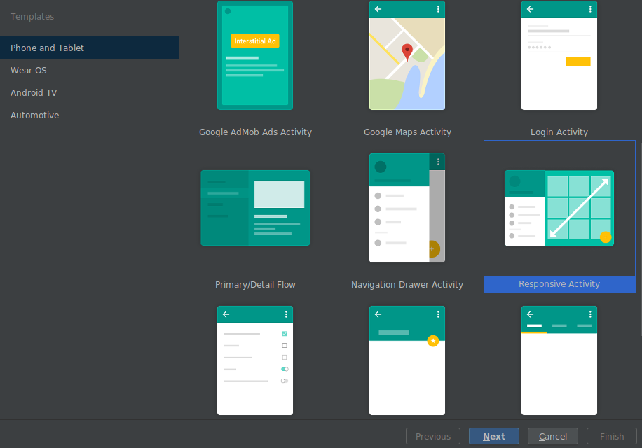 Responsive layout template in new project wizard
