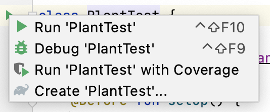 Context menu for running tests