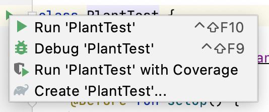 Menu de contexto para execução de testes