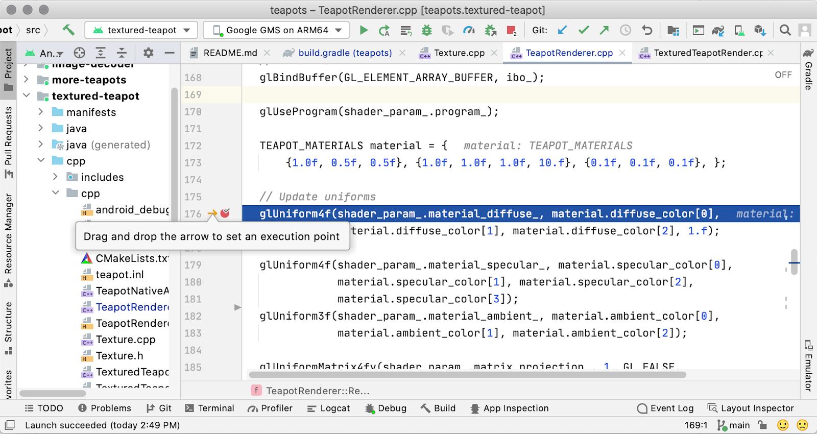 Definição do ponto de execução no editor de código C/C++