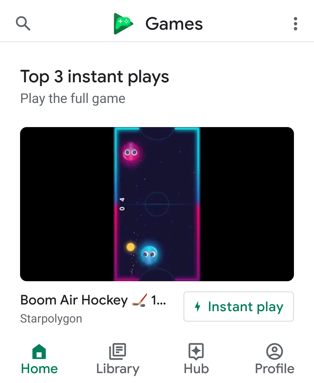 The 'Instant play' button appears in the Google Play Games app