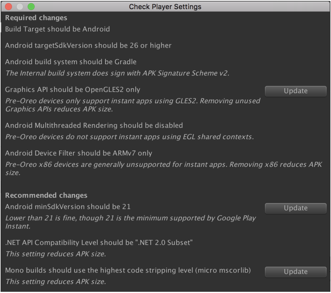 Saran spesifik mencakup hanya menggunakan OpenGLES2, menonaktifkan Multithreaded Rendering, dan menyetel versi SDK target ke 26 atau lebih tinggi.