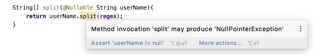 Null pointer exception warning