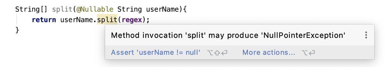 null 포인터 예외 경고