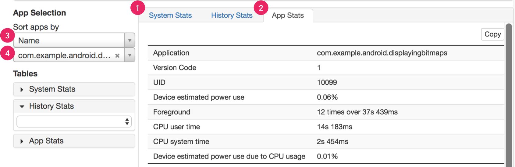 Sección de estadísticas de BatteryHistorian