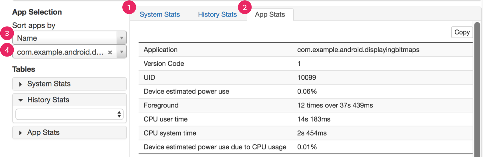 The stats section of Battery Historian