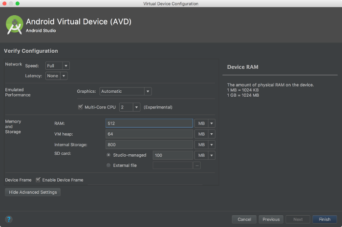 Configuração de memória do AVD Manager