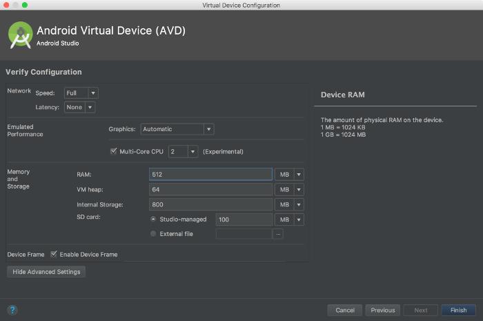 AVD 管理器上的内存设置