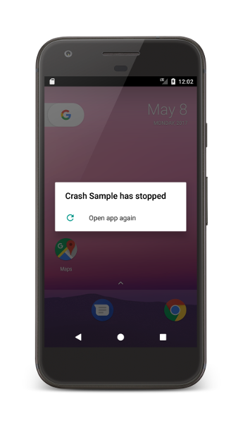 An app crash on an Android device