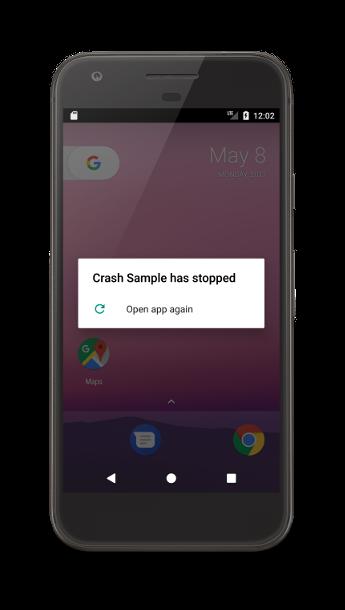 Falha de um app em um dispositivo Android