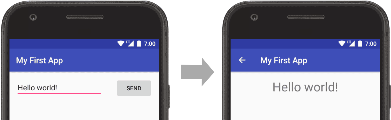 App opened, with text entered on the left screen and displayed on the right.