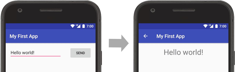 アプリが開き、入力したテキスト(左の画面)が表示されます(右の画面)。