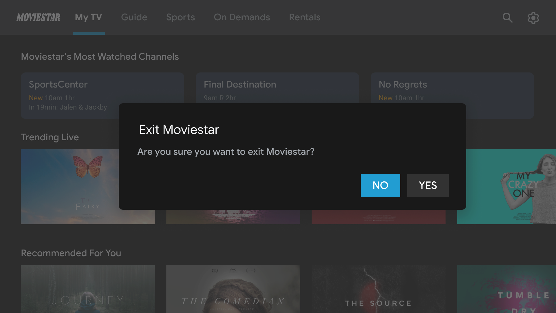 Screenshot showing a dialog asking users if they want to exit